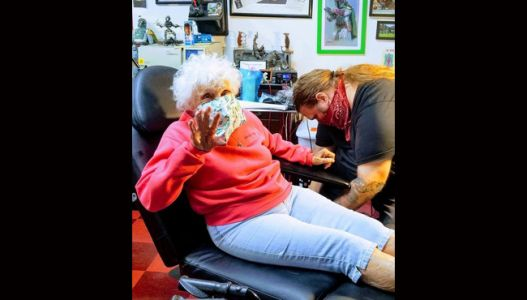 Woman gets tatted at 103 years old
