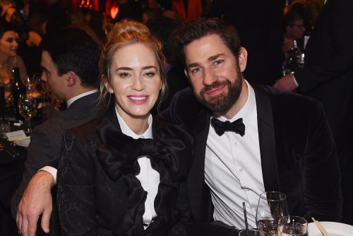 Emily Blunt and John Krasinski wear matching tuxedos