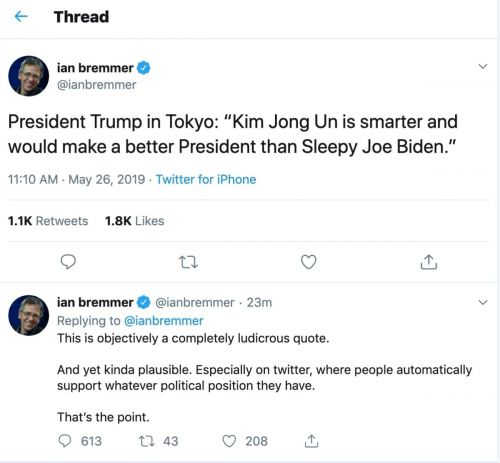 NYU Prof Ian Bremmer Universally Panned For Tweeting Out Fake Trump Quote