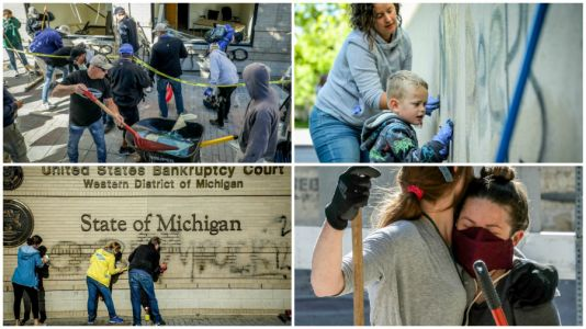 Photos: Volunteer cleanup in Grand Rapids after riots