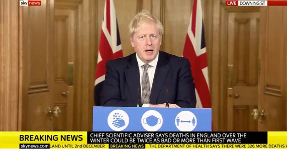 BREAKING: Boris Johnson Announces New Month-Long England Lockdown to Combat Covid