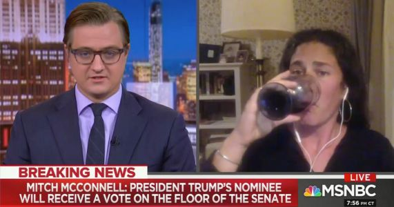 Rebecca Traister Swigs Wine Live on MSNBC as Chris Hayes Reads McConnell's Statement on RBG, SCOTUS Vote
