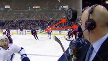 Holy Puck! Hockey Announcer's Terrifying Close Call Caught On Video