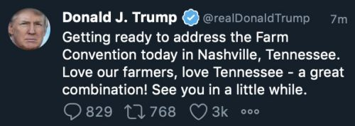 Trump Announces He's Going to a Farm Convention in Nashville. It's in New Orleans
