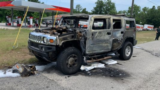 Hummer with 4 containers of gas inside bursts into flames after filling up at Florida gas station