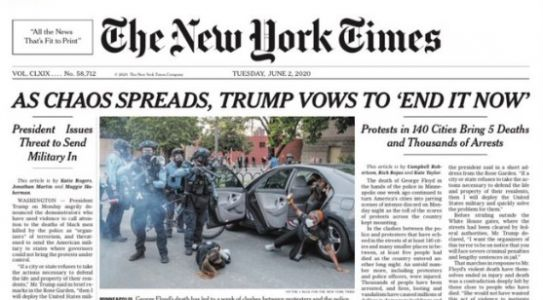 New York Times Hounded for Credulous Headline on Trump Crackdown Threats, Teargassing Peaceful Protestors: 'Just Pathetic'