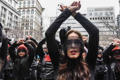 Flash mob dances in protest outside Harvey Weinstein's sex assault trial